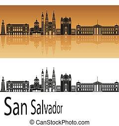 San Salvador Skyline - San Salvador skyline in orange...