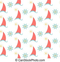 seamless pattern sailboat and the steering wheel.