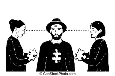 Concept of love triangle, difficult choice. Young guy and two girls with puzzle piece. Vector black and white hand drawn illustration.