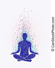 Meditation, enlightenment. Sensation of vibrations. hand...