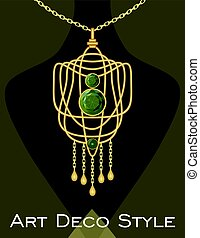 Luxurious art deco pendant with green gems emerald on gold chain, fashion in victorian style, antique jewel
