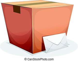 Mail Delivery With Cardboard And Envelope - Illustration of...
