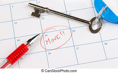 Moving - Calendar with the word move circled in red with a...
