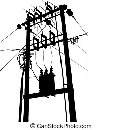Electric transformer substation - Vector silhouette of small...