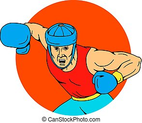 Amateur Boxer Overhead Punch Drawing - Drawing sketch style...