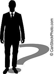 hombre de negocios, pregunta, marca