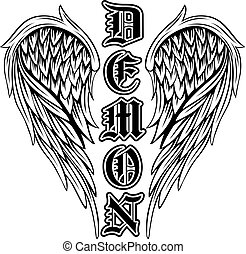 demon - Abstract vector illustration black and white wings...