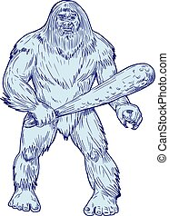 Bigfoot Holding Club Standing Drawing - Drawing sketch style...