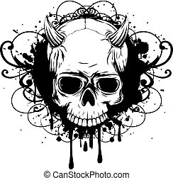 demon - Abstract vector illustration black and white skull...