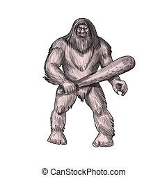 Bigfoot Holding Club Standing Tattoo - Tattoo style...