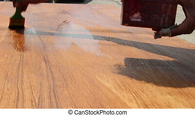 paint wood with lacquer