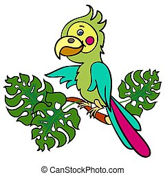 parrot on a branch3-01 - A bright green parrot on a branch...
