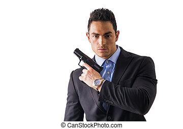 espião, arma, vestido, agente, elegante, segredo, ou, homem