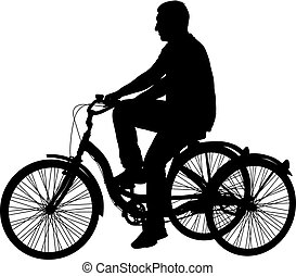 Silhouette of a tricycle male on white background.