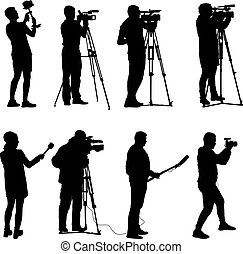 Set cameraman with video camera. Silhouettes on white...