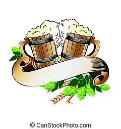 Wooden beer mugs still life