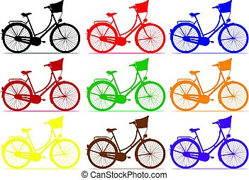 Bicycle. - City bike in different colours.