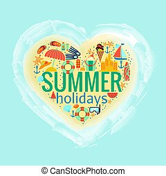 Summer holidays heart poster vector illustration