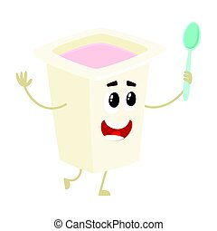 Funny yougurt character with smiling human face in plastic cup