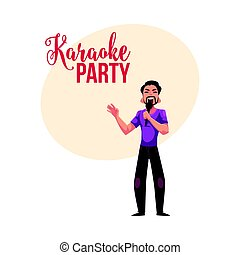 Karaoke party, contest banner, poster, postcard design with male singer