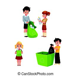 Children collect rubbish, garbage for recycling, trash segregation, waste sorting