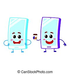 Cartoon mobile phone characters, smiling happily, holding paper coffee cup