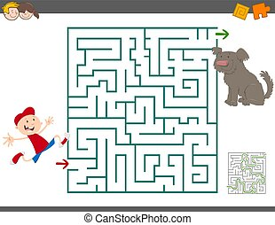 maze leisure activity - Cartoon Illustration of Education...