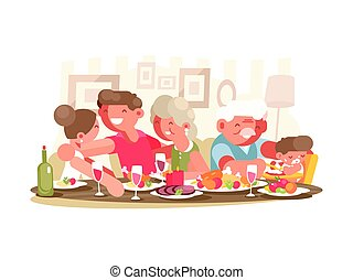 Happy family at dinner table. Father and mother,...