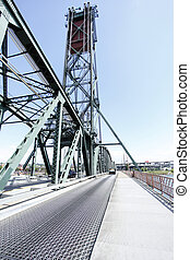 The Hawthorne drawbridge in Portland,Oregon