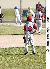 Outfielder watching opposing team score a run.