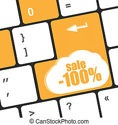 Keyboard buttons with discount in closeup as online sales concept