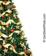 Christmas Tree and decorations Over white background