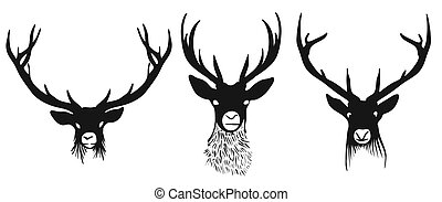 Three deers heads silhouettes