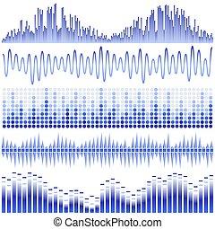 Vector set of blue sound waves. Audio equalizer. Sound &...