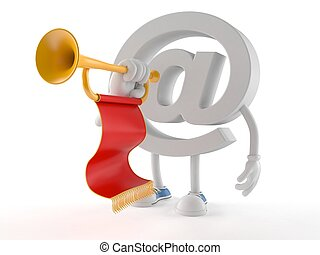 E-mail character playing the trumpet