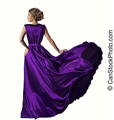 Woman Purple Dress, Fashion Model in Silk Gown, Waving Flying Fabric, White Background