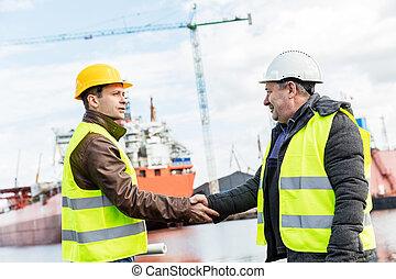 astillero, apretón de manos, construcción naval, industria,...