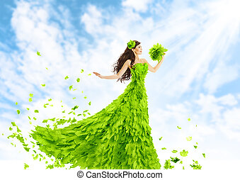 Woman Green Leaves Dress, Nature Fashion Beauty Girl in Leaf Gown