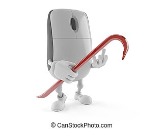 Computer mouse character holding crowbar