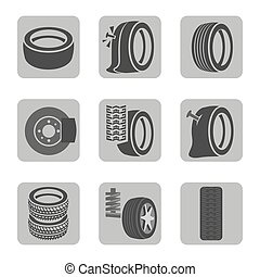 Tire shop icons - Beautiful vector illustration of tire shop...
