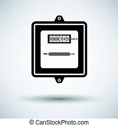 Electric meter icon on gray background, round shadow. Vector...