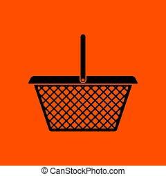 Supermarket shoping basket icon. Orange background with...