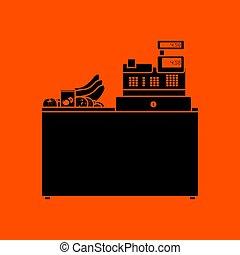 Supermarket store counter desk icon. Orange background with...
