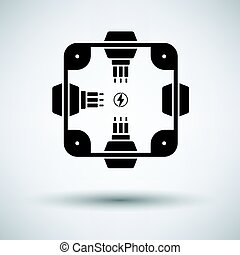 Electrical junction box icon on gray background, round...
