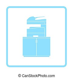 Copying machine icon. Blue frame design. Vector...