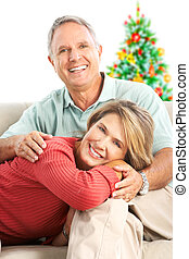 Christmas elderly couple - Elderly happy couple near a...