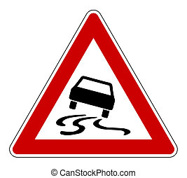 Slippery road sign - Slippery or hazardous road sign,...