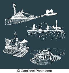 Vector farm landscapes illustrations set. Sketches of villa,...