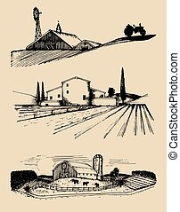 Vector farm landscapes illustrations set. Hand drawn countryside. Drawings of villa, peasants house in fields.