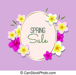 Spring Sale illustration with frame and flowers
